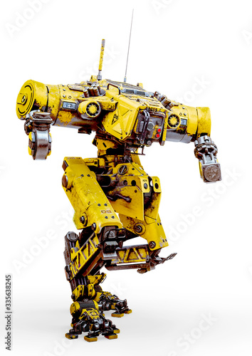 Stampa su Tela yellow combat mech in action in a white background