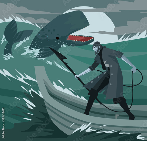 captian ahab with an harpoon hunting moby dick whale Wall mural