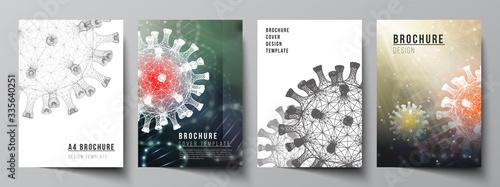 Fototapeta Vector layout of A4 cover mockups templates for brochure, flyer layout, booklet, cover design, book design. 3d medical background of corona virus. Covid 19, coronavirus infection. Virus concept. obraz