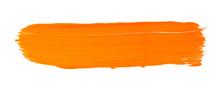 Orange Yellow Brush Stroke Isolated On White Background. Orange Abstract Stroke. Colorful Watercolor Brush Stroke.