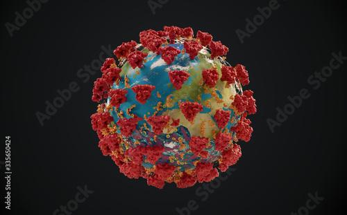 Fototapety, obrazy: virus COVID-19 Coronavirus symbolic detailed 3d-illustration. elements of this image furnished by NASA