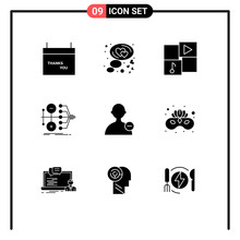 Pack Of 9 Modern Solid Glyphs Signs And Symbols For Web Print Media Such As Basic, Transfer, Media, Money, Monetization