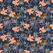 Flower Meadow With Butterflies And Dragonflies Seamless Vector Pattern. Moody Surface Print Design On A Dark Background. For Fabrics, Stationery And Packaging.