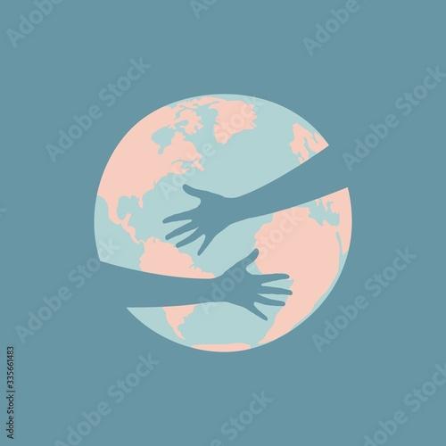 Cuadros en Lienzo Hands hug the planet
