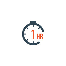1 Hour Round Timer Or Countdown Timer Icon. Deadline Concept. Delivery Timer. Stock Vector Illustration Isolated On White Background.