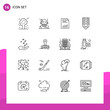User Interface Pack of 16 Basic Outlines of badge, paper, algorithm, graph, chart