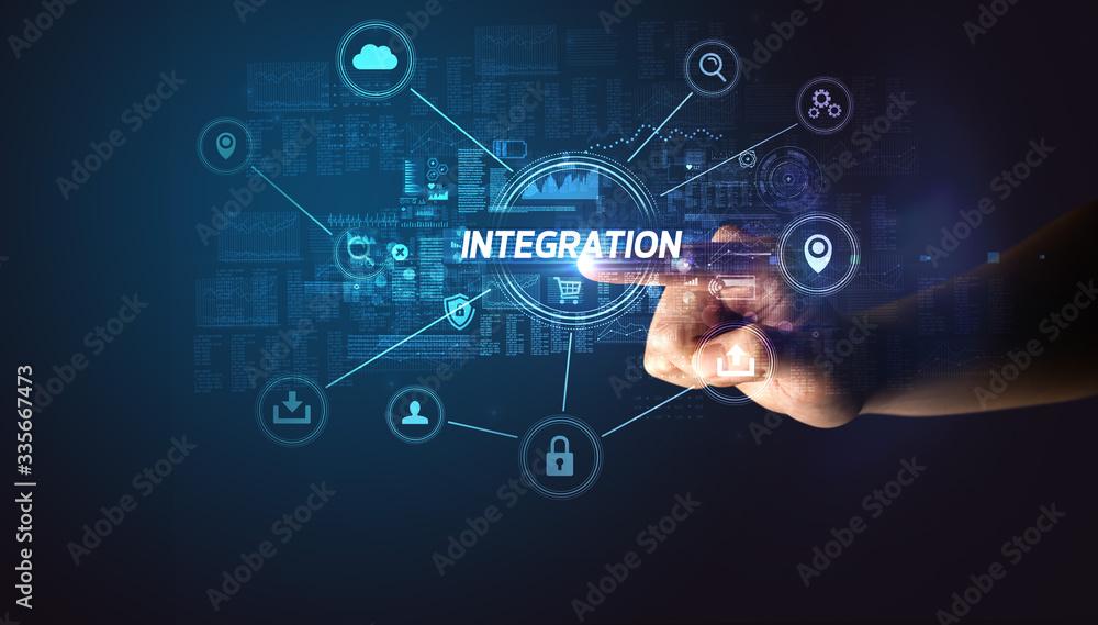 Fototapeta Hand touching INTEGRATION inscription, Cybersecurity concept
