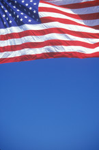 American Flag And Blue Sky, Un...