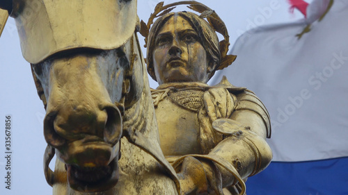 Photo Golden statue of Maid of Orleans Joan D Arc - in New Orleans