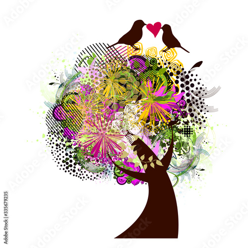 Fototapety, obrazy: Abstract flower tree with butterflies and birds. Vector illustration