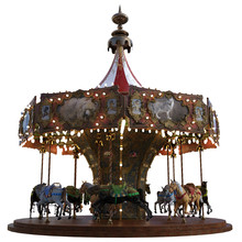 Vintage Carousel Ride Isolated On White, 3d Render.
