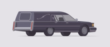 Vector Vintage Funeral Hearse Car. Isolated Illustration