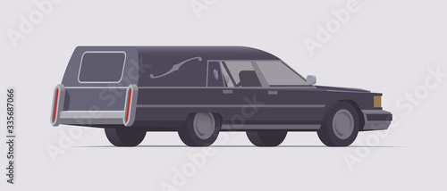 Photo Vector vintage funeral hearse car. Isolated illustration
