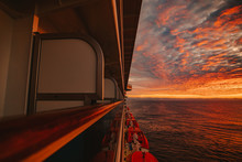 Sea Seen From Cruise Balcony During Sunset