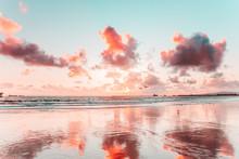 Peach And Blue Beach Sunset