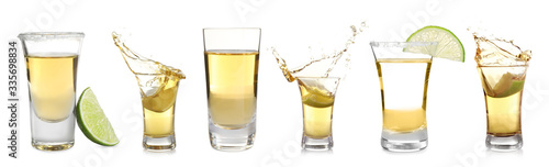 Tablou Canvas Set of Mexican Tequila shots on white background. Banner design