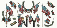 United States Of America. Patriotic Set. Traditional USA Tattooing Elements. Old School Tattoo Vector Collection. Statue Of Liberty, Flag, Map. History And Culture