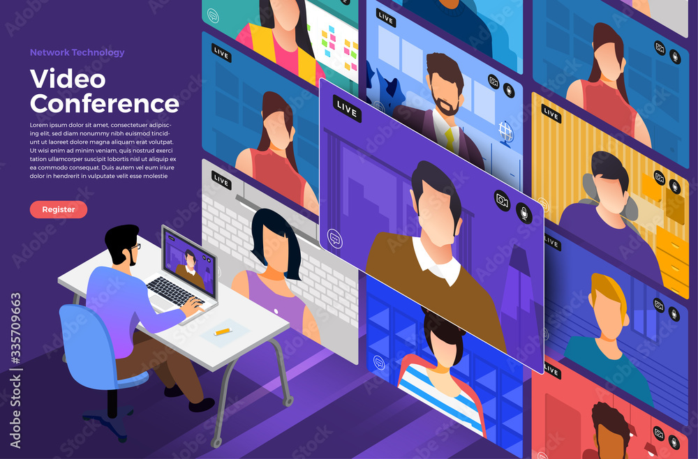Fototapeta Illustrations flat design concept video conference. online meeting work form home. Vector illustrate.
