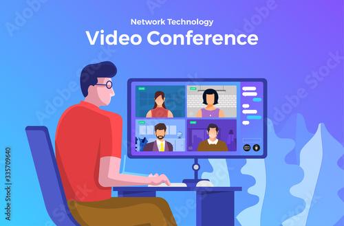 Fototapeta Illustrations flat design concept video conference. online meeting work form home. Vector illustrate. obraz na płótnie