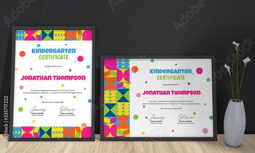 Kindergarten Diploma Certificate Template Tablou Canvas