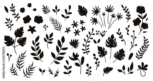 Vector tropical flowers leaves and twigs silhouettes Fototapeta
