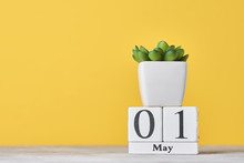 Wooden Block Calendar With Dat...