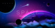 Vector Illustration Of Space, Planets And Galaxy For Poster, Banner Or Background. Abstract Drawings Of The Future, Science Fiction And Astronomy.