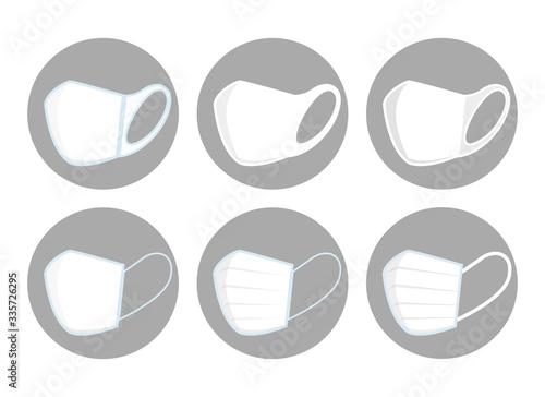 Cuadros en Lienzo アイコン:マスク 清潔 抗菌 ウィルス 対策 種類 不足 医療 病院 対策 ケア セット Mask illustration
