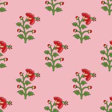 Seamless Red Mughal Flower Pat...