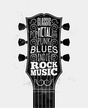 Black Guitar Fretboard Silhouette With Rock Music Styles Captions. Rock-n-roll Music Poster Design Concept. Vintage Styled Vector Illustration