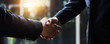 successful negotiate and handshake concept, two businessman shake hand with partner to celebration partnership and teamwork, business deal