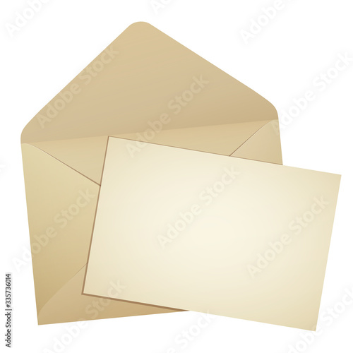 開いた古い封筒とはみ出す手紙イラスト Canvas