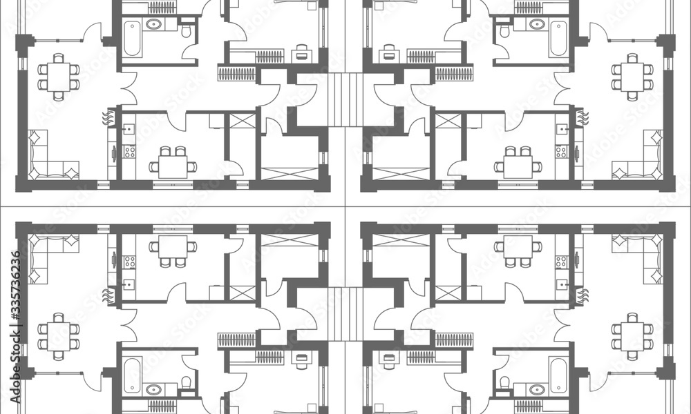 Fototapeta Architectural background. Part of architectural project, architectural plan of a residential building.