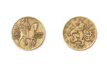 Coin Of 20 Czech Koruna On White. Czech Crown Coins. 20 CZK.