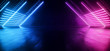 canvas print picture - Neon Synthwave  Cyber Purple Blue Cyberpunk Triangle Warehouse Tunnel Corridor Concrete Cement Asphalt Laser Beams Club Dance Stage Fashion Parking Garage 3D Rendering