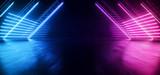 Fototapeta Perspektywa 3d - Neon Synthwave  Cyber Purple Blue Cyberpunk Triangle Warehouse Tunnel Corridor Concrete Cement Asphalt Laser Beams Club Dance Stage Fashion Parking Garage 3D Rendering