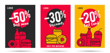 Discount Posters Set For Fast Food Restaurant Or Delivery Service, Template Design With Linear Food And Drinks Combo Menus For Snack And Lunch