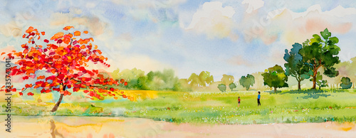 Watercolor landscape painting  of natural beauty red flowers tree.