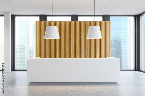 Obraz White reception desk in wooden office hall - fototapety do salonu