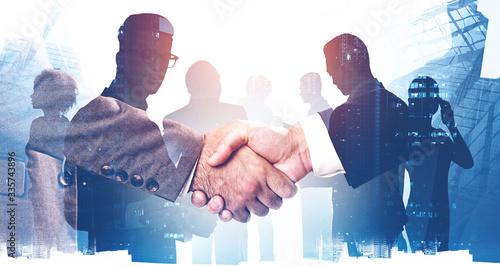 Fototapeta Handshake in city, business partnership obraz