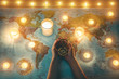 Young woman planning world tour with vintage travel map - Traveler girl using old compass with candles in background - Wanderlust, globetrotter trends and holiday concept - Focus on hands