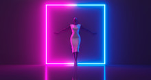 3D Rendering. A Mannequin Girl Of Dark Glossy Material, Dressed In Bright Glossy Clothes, Leaning Against A Wall In The Interior Of A Luminous Square Frame, On A Flat Surface.