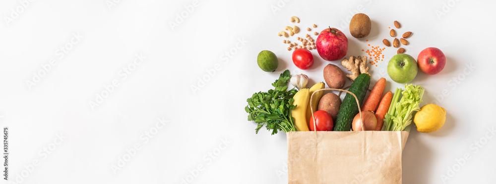 Fototapeta Delivery or grocery shopping healthy food - obraz na płótnie
