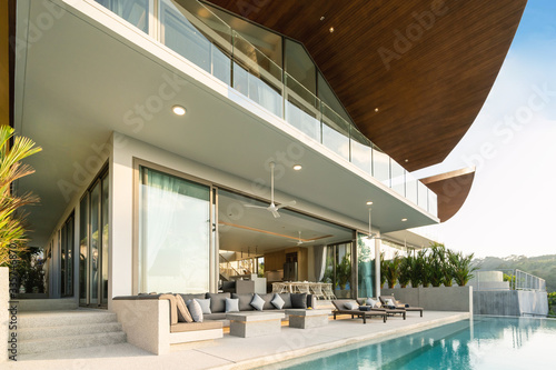Interior and exterior design of luxury pool villa, house and home feature terrac Poster Mural XXL