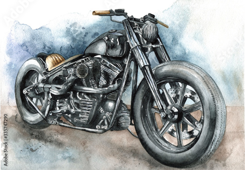 Fotografie, Obraz Motorcycle bobber painted in watercolor on paper