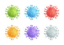 Coronavirus Covid-19 Vector 3d Illustration Colorful Set