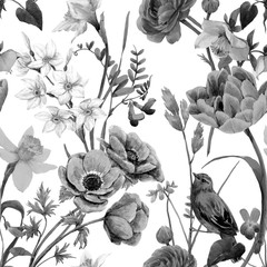 Fototapeta Ogrody Beautiful floral summer seamless pattern with watercolor flowers. Black and white monochrome stock illustration.