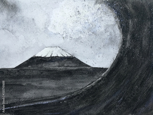 japanese great wave art Fototapeta