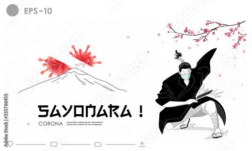 Samurai kill the corona virus outbreak illustration concept Wallpaper Mural