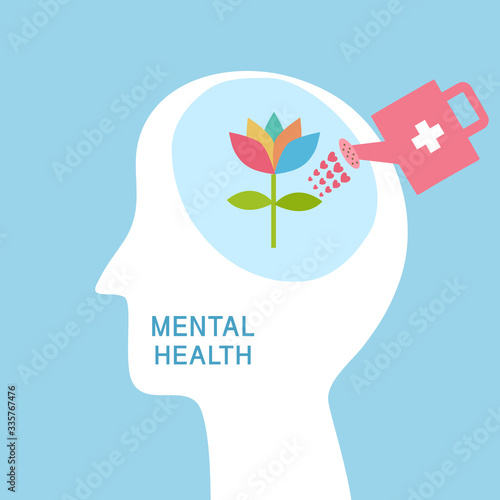 Obraz Mental health concept vector illustration. World mental health day. Flower plant growing in brain flat design. Brain and mind care. - fototapety do salonu